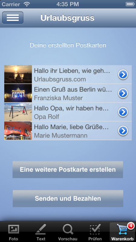 Urlaubsgruss iPhone 5 Screenshot